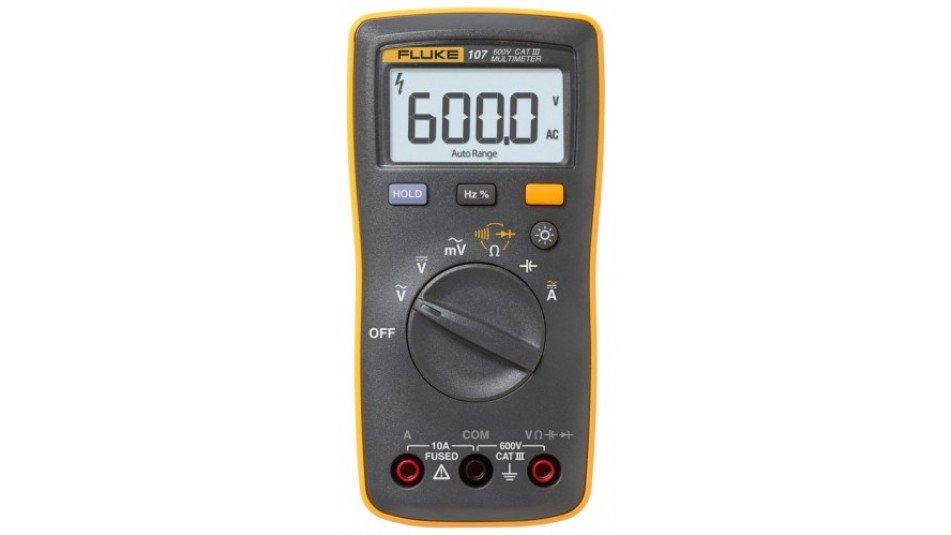 Fluke 107 ESP Palm-Sized Digital Multimeter, CAT III, 600 V-